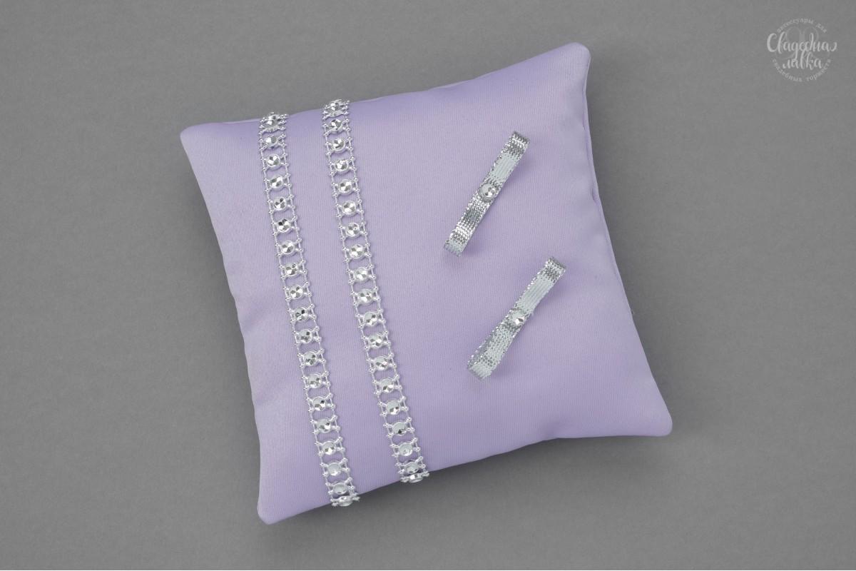 """Подушечка для колец """"Серебро и фиолет"""""""