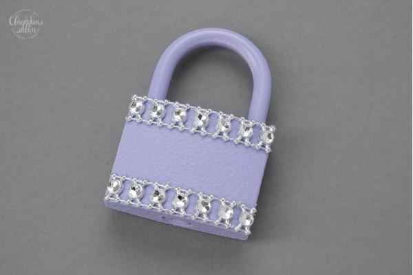 Свадебный замочек ''Серебро и фиолет'