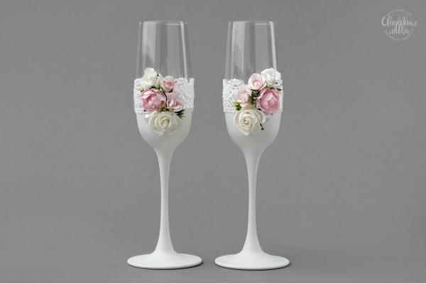 """Свадебные бокалы """"Розовая нежность"""""""