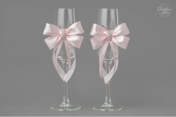 """Свадебные бокалы """"Розовое серебро"""""""