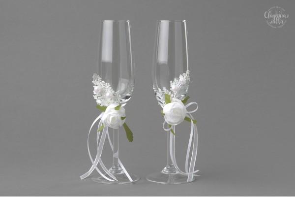 "Свадебные бокалы ""Белая камелия"""