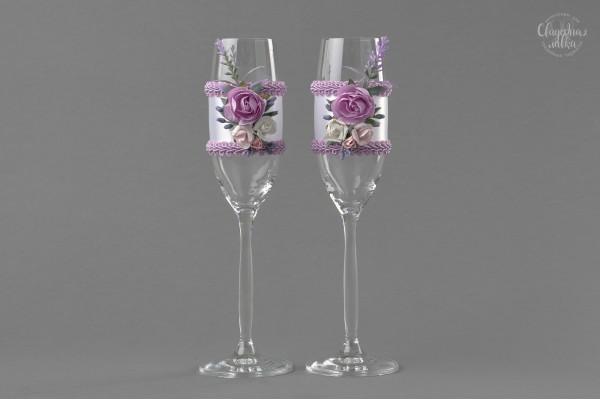 """Свадебные бокалы """"Сиреневые розы"""""""