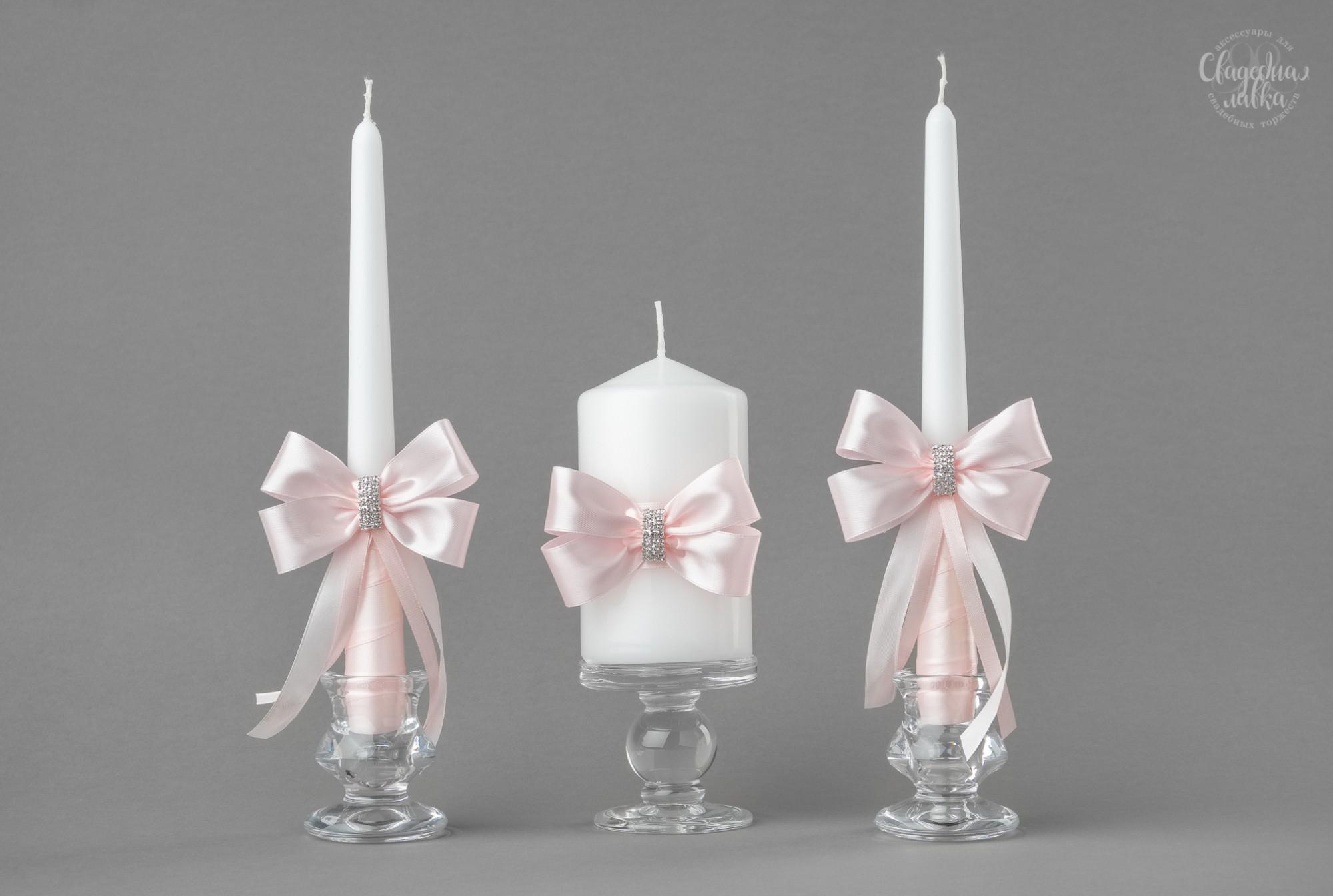 """Набор Свадебных Свечей """"Розовое серебро"""""""