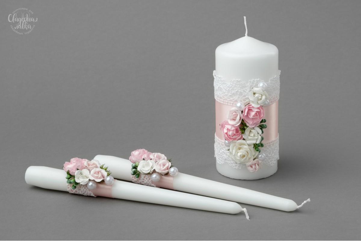 """Набор Свадебных Свечей """"Розовая нежность"""""""