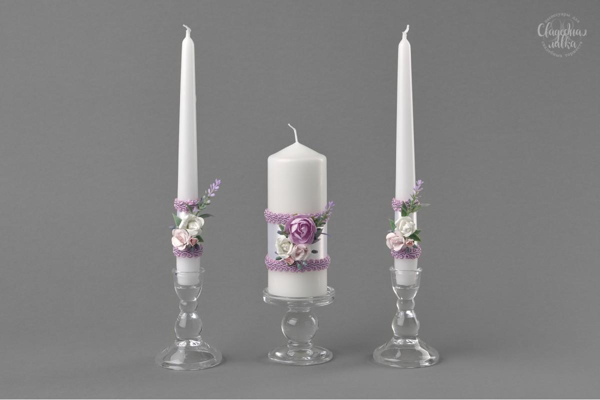 """Свадебные свечи """"Сиреневые розы"""""""