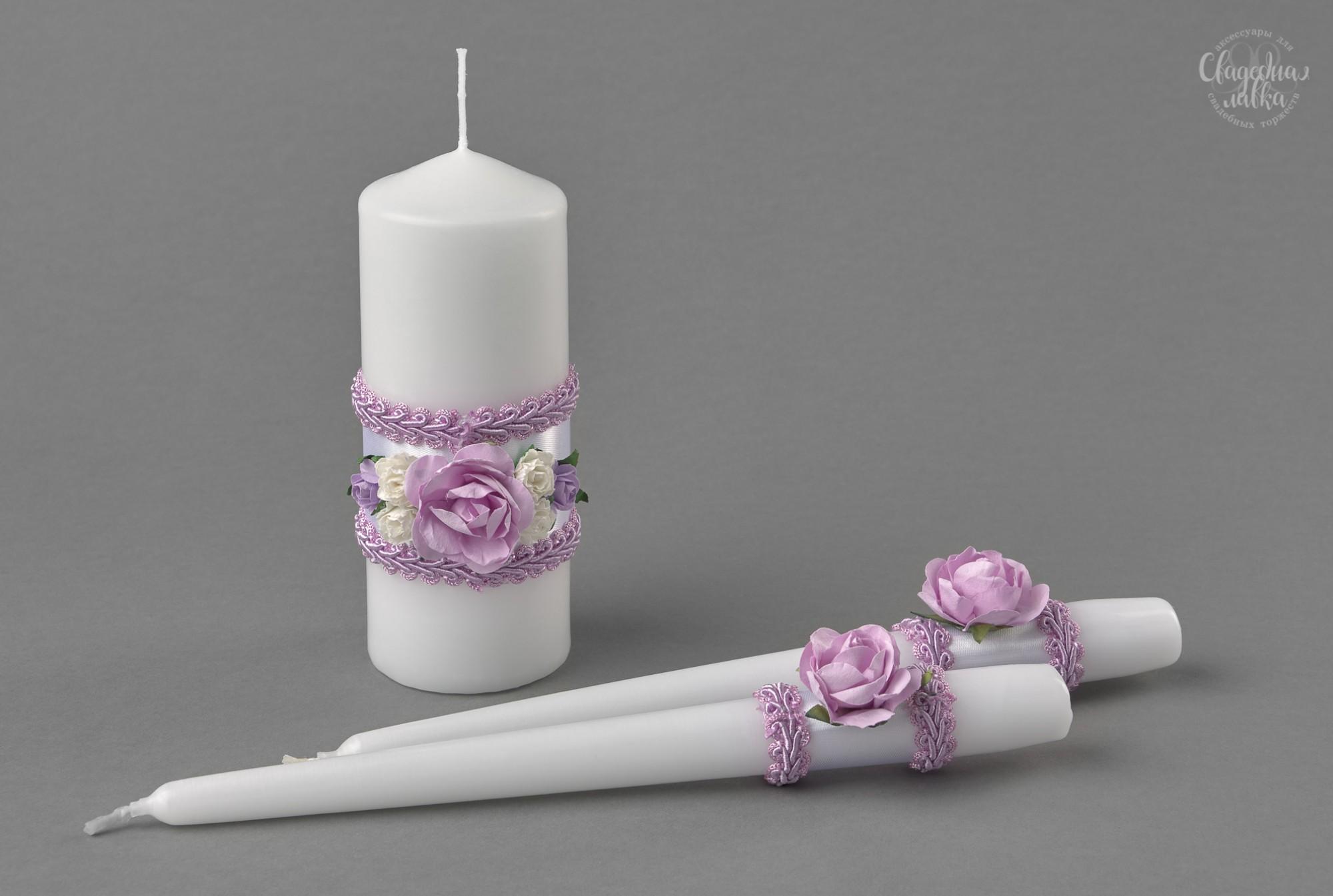 """Свадебные свечи """"Сиреневые розы I"""""""
