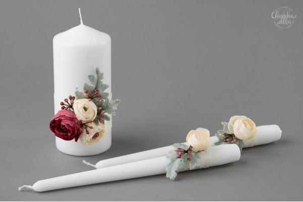 """Набор Свадебных Свечей """"Нежность Цветов"""""""