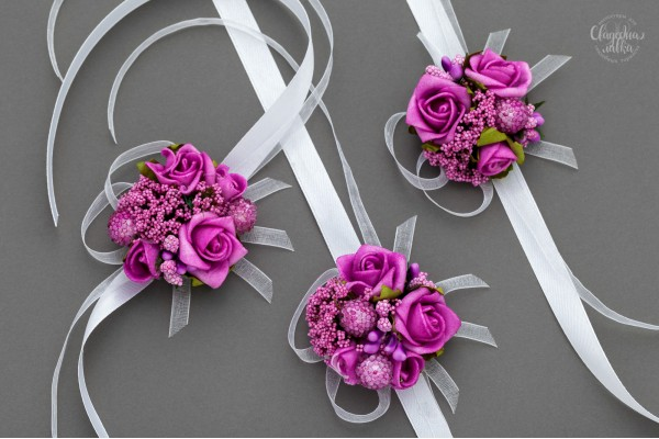 """Браслет подружке Невесты """"Малиновый микс"""""""