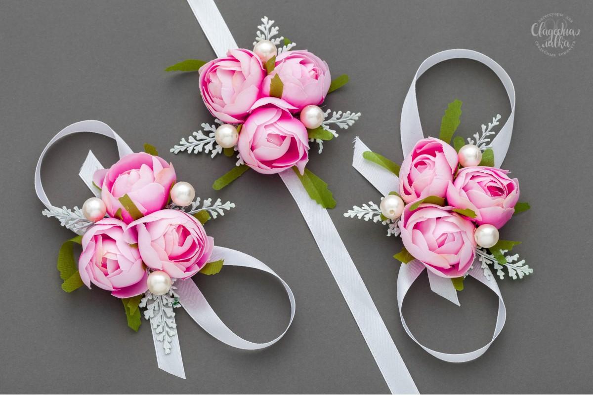 """Браслет подружке Невесты """"Розовая камелия"""""""