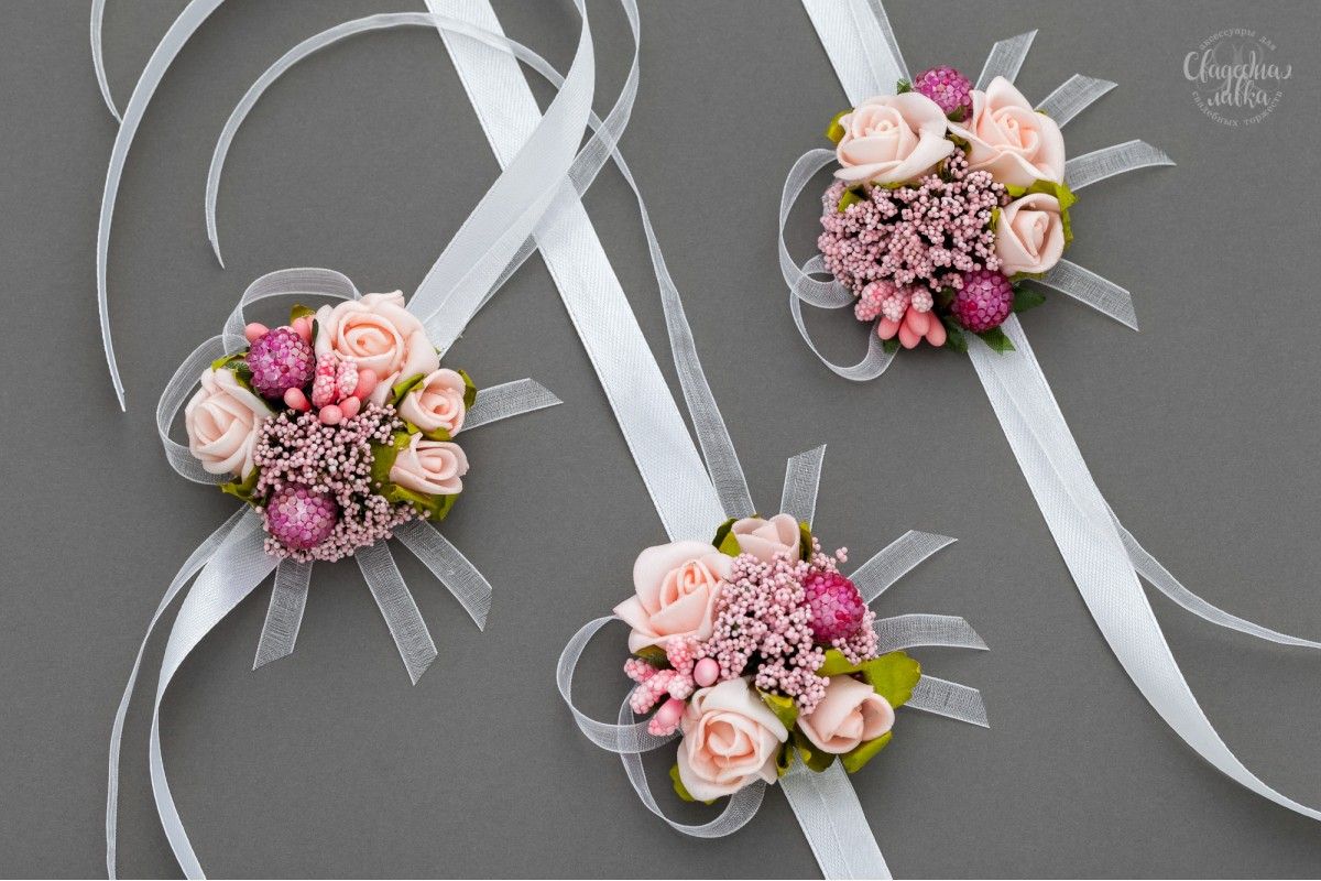 """Браслет подружке Невесты """"Розовый микc"""""""
